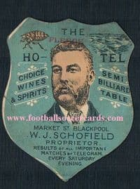 1895 Schofield Fleece Hotel BLACKPOOL FC Wilson 1 of the 1st soccer player cards ever!